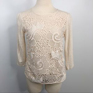 Ann Taylor Cream Linen and Lace 3/4 Sleeve Top